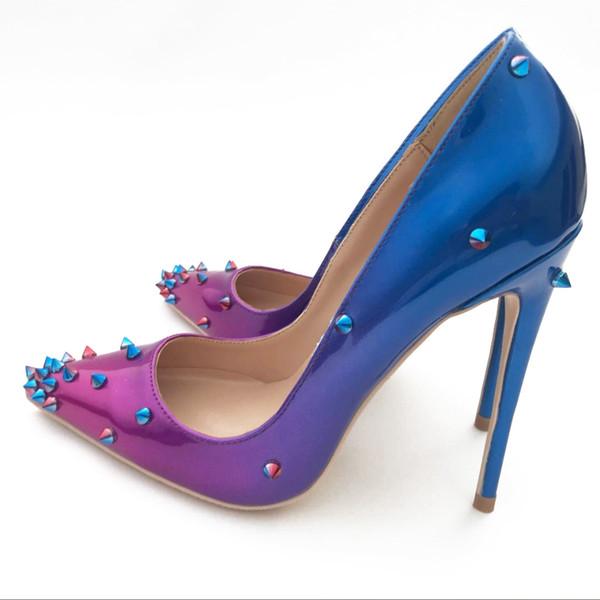 2019 Free shipping fashion women pumps blue purple Gradient color point toe high heels thin heel bride wedding shoes 12cm 10cm 8cm brand new