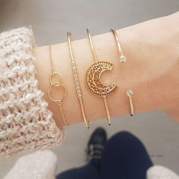 4 pcs/set fashion bangle golden moon crystal geometric chain open bracelet set women charm party wedding jewelry accessories