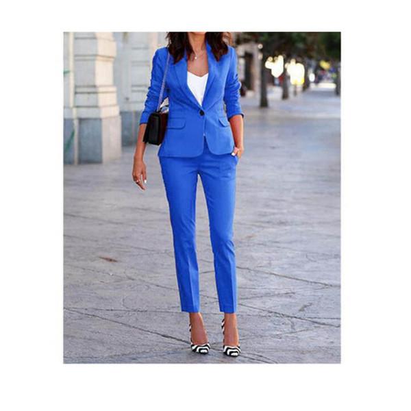 Customized spring and autumn new hot women's suit two-piece suit (jacket + pants) women's blue single button casual suit