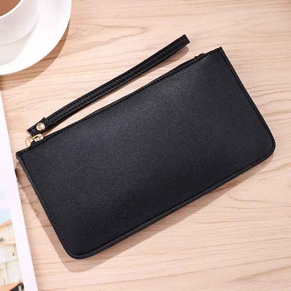 2018 Fashion Long Women Solid Zipper Coin Purse New Designer Wallet Clutch PU Leather Phone Card Holder Girls Wristlet Strap Bag