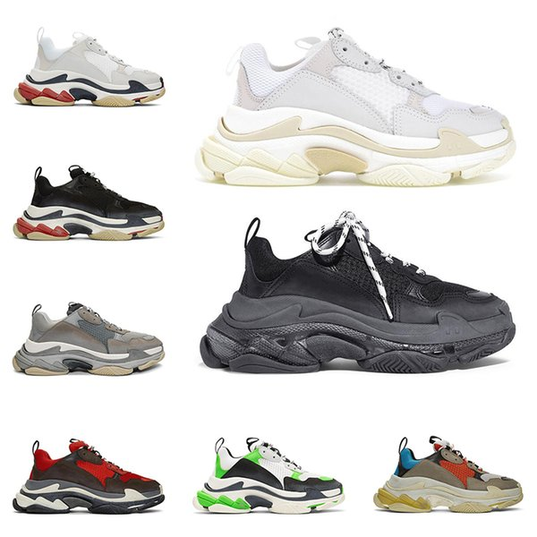 New triple s fashion designer luxury shoes for men women clear sole neon green black white red mens trainers platform sneakers