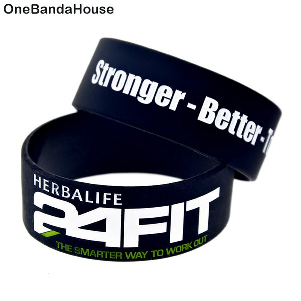Onebandahouse 25pcs/lot 1 Inch Wide Fitness Wristband 24 Hour Fit Stronger Better And Together Motivational Silicone Bracelet J190719