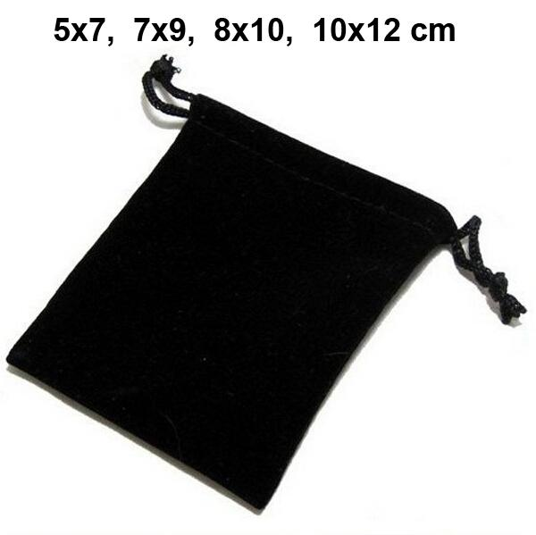 100pcs/lot 5x7, 7x9, 8x10, 10x12cm Black/Blue/Red/Wine Red Drawstring Velvet Bags & Pouches Jewelry Bags Gift Packaging Bag