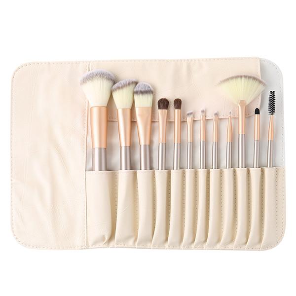 12pcs 18pcs 24pcs beige Kit di spazzole di trucco di lusso con custodia in pelle PU Custodia in legno tubo Pro Cosmetici viso bellezza pennello Set di strumenti