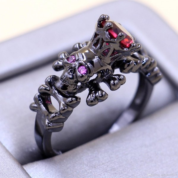 Size 5/6/7/8/9/10 Punk Fashion Jewelry 10kt Black Gold Filled Ruby CZ Diamond Weddiing Women Band Skull Ring for Lover's gift