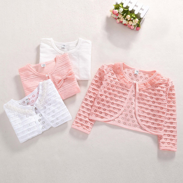 2018 Baby Girls' Small Shawl With Short Coat Kids Long Sleeve Summer Coats For Baby Clothing Casual Thin Jacket White Pink
