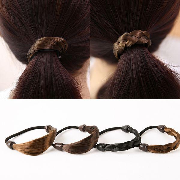 Promotional 4colors Sale Headwear Rubber Rope Scrunchy Wig Elastic Hair Bands Women Hemp Hair Accories Flowers