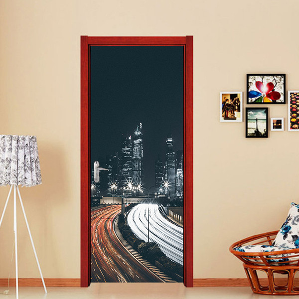 2pcs/set City Night Bridge Landscape Door Wall Murals Stickers Wallpaper Room Decoration Living Room Bedroom Art Home Decals