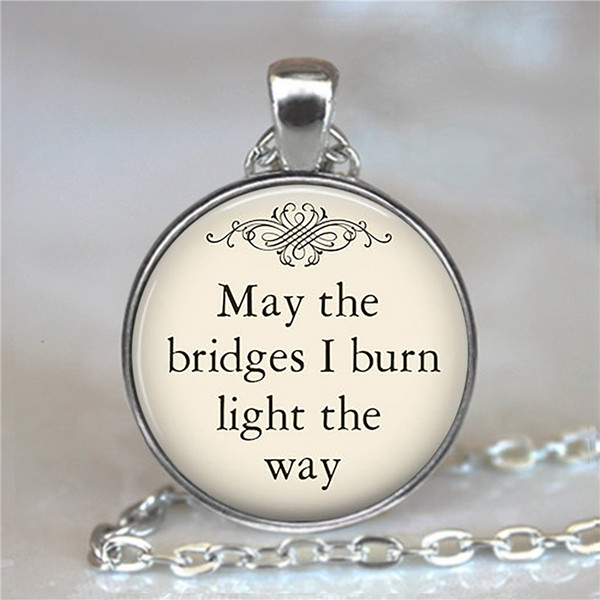 Round Pendant Necklace letter jewelry fairy tale quote necklace glass cabochon book pendant silver statement chain necklace