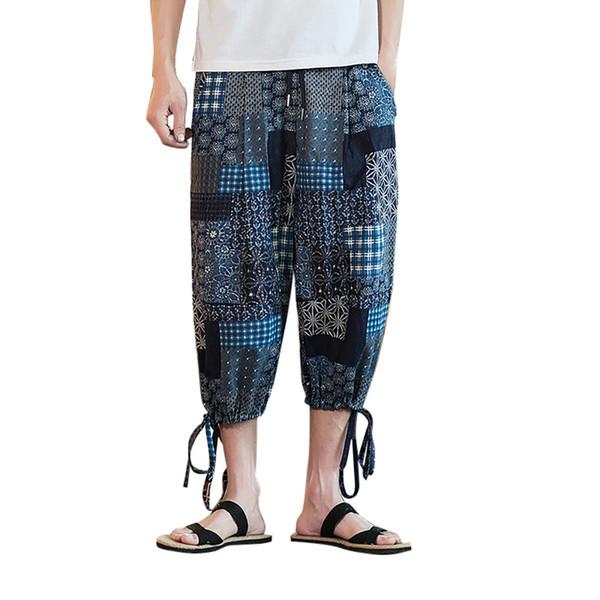 Pantalones deportivos delgados ocasionales de los hombres de verano de alta calidad sueltos pantorrilla de lino pantalones de pantalón pantalones holgados de diseño especial