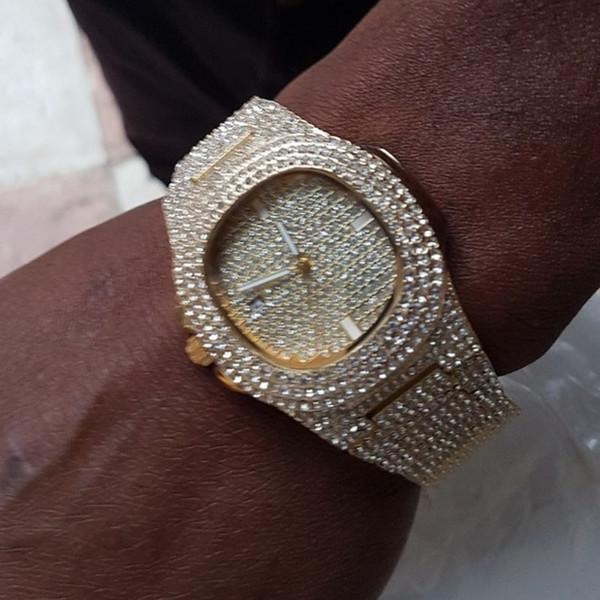 Relojes para hombre de primeras marcas de lujo Iced Out Reloj Gold Diamond Watch para hombres Cuarzo reloj de pulsera impermeable Relogio masculino
