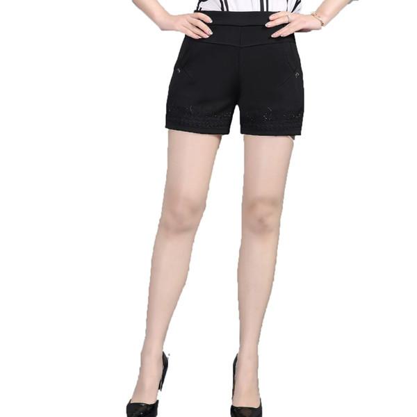 Women Summer Shorts Black Elastic Band Waist Short Pants Woman Casual Pantalones Cortos Mujer Slim Fit Shorts 4XL 3XL 2XL Bottom