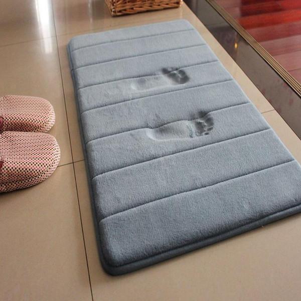 40x60cm Home Bath Mat Coral Fleece Bathroom Carpet Water Absorption Non-slip Memory Foam Absorbent Washable Rug Toilet Floor Mat