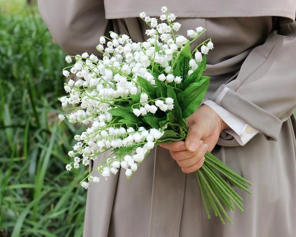 Vadisi Convallaria Majalis Perennial Çiçek Düğün buket yapay çiçeğin Çok Güzel Beyaz Zambak