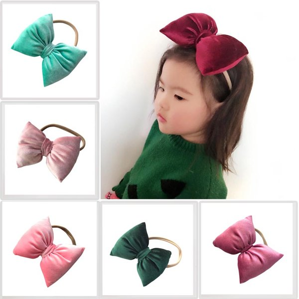 Kids Nylon Hair Band Headband Small Pillow Gold Velvet Headwear Baby Stretch Solid Color Rope 4