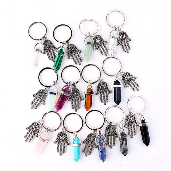 Hexagonal Prism Natural Stone Pendant Keychain Hand of Fatima Bullet Crystal Charms Key rings Jewelry Fashion Accessories