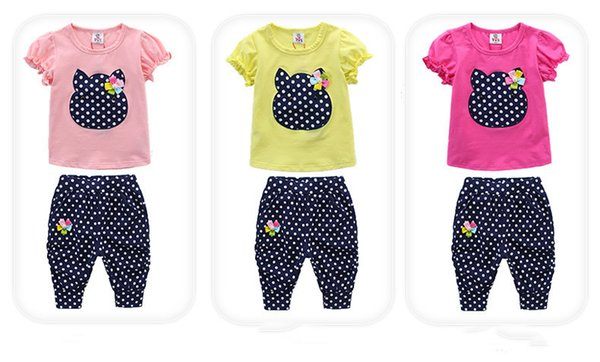 good quality 2019 Baby Girl Clothing Set Summer Girls Clothes Cartoon Shorts+Pant 2PCS Kids Outfit For Girls Set Girl Clothes