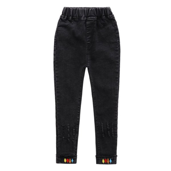 Moda pantaloni dei bambini capretti delle ragazze dei jeans vestiti di cotone denim stretch vita sottile Skinny Pants