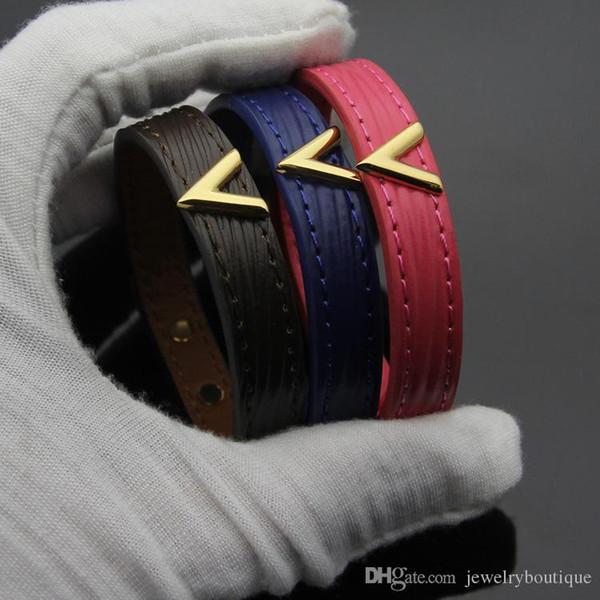 2018 Venta caliente pulsera de cuero genuino para hombre y mujer y hombre Pulsera de tamaño ajustable en joyería de moda de 23 cm de longitud envío gratis PS52