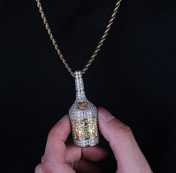 14K Iced Out Two-Tone Whiskey Wine Bottle Pendant Micro Pave Cubic Zircon Hip Hop Pendant Necklace For Men Women Gifts