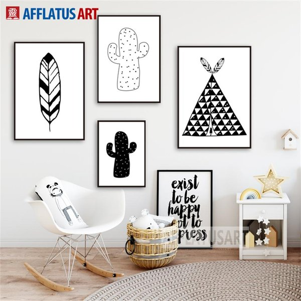 Tent Cactus Feather Nordic Poster Wall Art Canvas Painting Black White Posters And Prints Wall Pictures Kids Room Decor