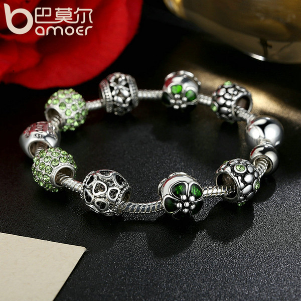 2019 Pandora Style Silver Color Amour Love Openwork Heart Green Clear CZ Charm Bracelets & Bangles for Women Jewelry Accessories PA1504