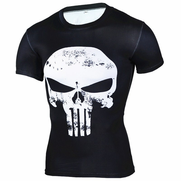 2019 Punisher Gym Sports T Shirt Men Short sleeve T-Shirt Male Crossfit Tee Captain America Superman Compression Shirt MMA Skull Tops