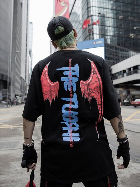 Падение доставка твердые Котто Дьявол футболка негабаритных хип - хоп стиль Хабар Tyga лето Хэллоуин топы тройники