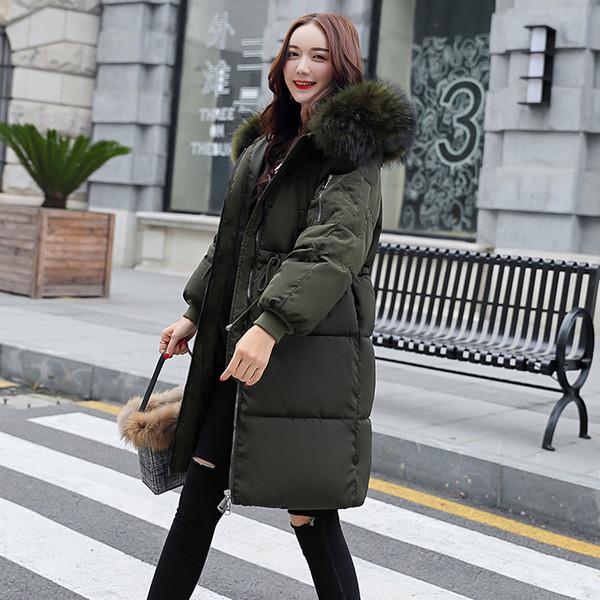Uzun kapüşonlu ceket Kadın Pamuk Kabanlar kış ceket kadınlar Parkas kış ceket kadınlar yastıklı Camperas mujer abrigo invierno 2018