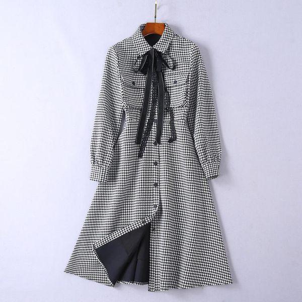 2019 Spring Long Sleeve Turn-Down Collar Plaid Print With Ribbon Tie-Bow Lady Mid-Calf Dresses Luxury Runway Dress N05R3185