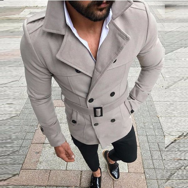 Men's Jacket 2019 New Arrival Men's Shirt Lapel Double-breasted Men Clothing Casual Jacket with Belt Stand Collar Long Sleeve Tops Size S-XL