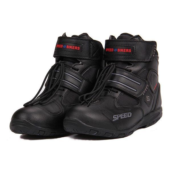 Botas de motos deportivas Tribu de montar BICICLETAS DE VELOCIDAD Cómodamente Botas de carreras de motos Motocross Moto A005 Negro / Blanco / Rojo