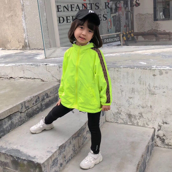 best selling Hot!Double-sided Clothes Boys girls Windbreaker Kids Outerwear Children Jackets Letter Striped Coats for Boy Outdoor Casual Style Jackets