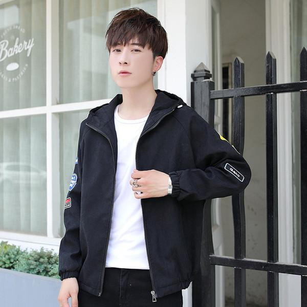 Pop2019 Spring Men's Korean Trend Even Hat Jacket Teenagers Cool Time Personality Slim Handsome Loose Joker Coat