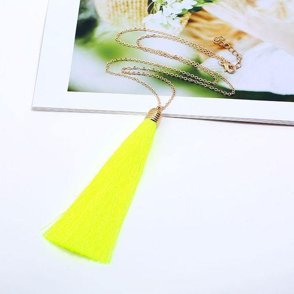 Women Pendant New Jewelry Bohemian Colorful Nylon Rope Polyamide Fibre String Tassel Necklace Long Sweater Chain Jewelry New Fashion Charm
