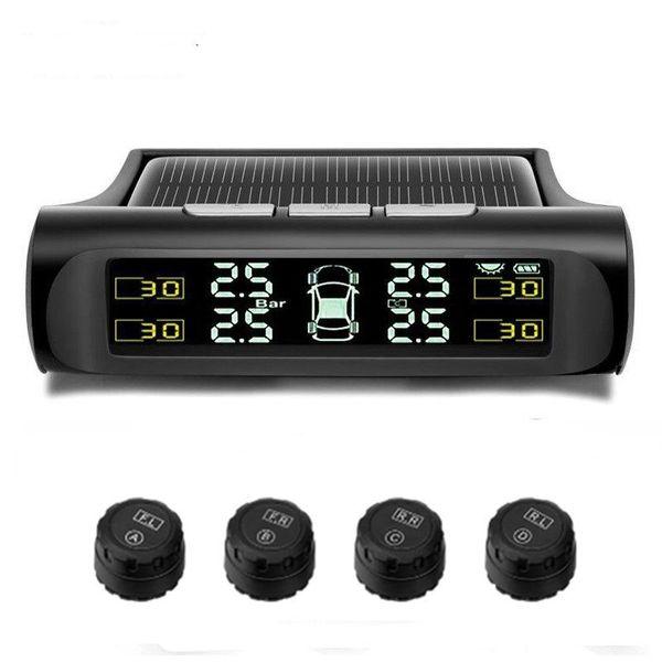 Dijital LCD Ekran Otomatik Sürücü Alarm Sistemleri Şarj Kablosuz Araç TPMS Lastik Basıncı İzleme Sistemi Güneş Enerjisi