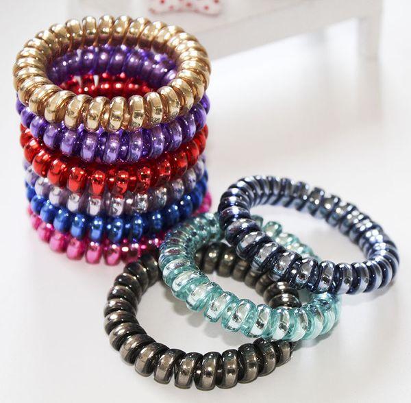 Women Colorful Hairband Girl Candy Color BIG Telephone Cord Headbands Elastic Ponytail Holders Hair Ring Diameter 5.8cm K5473