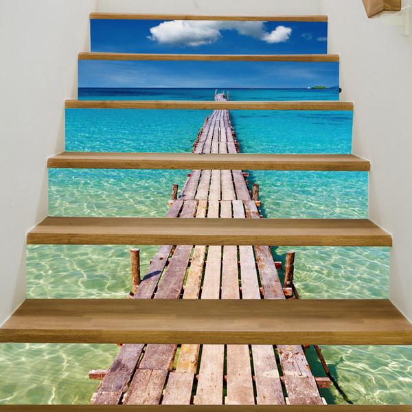 6 Teile / satz 3D Landschaft selbstklebende Wandaufkleber Dekoration Treppen Risers Aufkleber Wandbild Treppe Aufkleber Tapete Decor