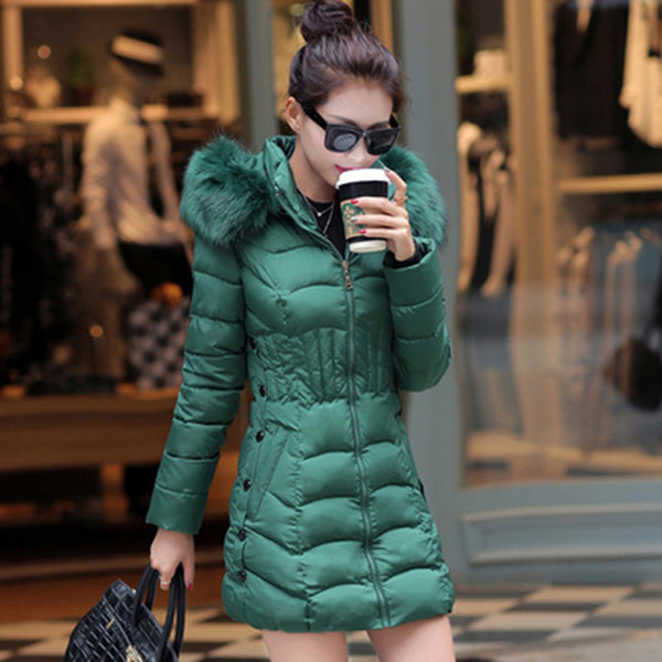2019 Fur Hooded Women Winter Down Jacket Cotton Slim Overcoat Elegant Casual Long Sleeve Women Big Fur Coat Parka Plus Size 4XL SH190902