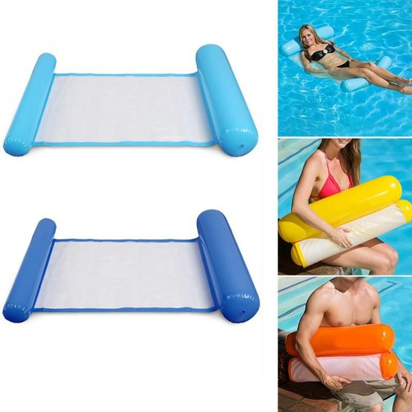 Hot Sunbathe Bed Swimming Ring Circle Beach Mat Water Party Toys Foldable Hammock Single PeopleBackrest Recliner Floating Sleeping Bed Chair