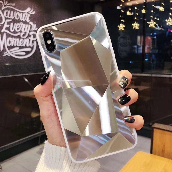 Fashion 3D Sounds Design Mirror Diamond Grain Gloss TPU Acrylic Phone Back Cover Case For Iphone,For Samsung, For Huawei p30 Protector