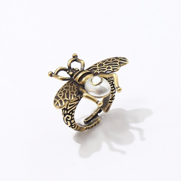 animal white pearl rings design copper jewelry woman honeybee insect ring women wedding party vintage Bronze fine jewelry