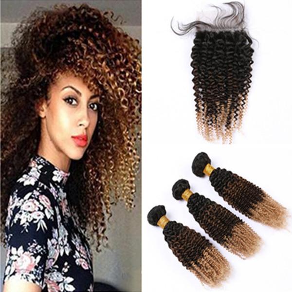 Tres Tonos paquetes de pelo con cierre # 1B 4 27 Honey Blonde de pelo rizado rizado Ombre peruana humano de la armadura de Paquetes con cierre de encaje 4x4