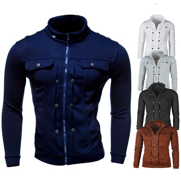 Boutons Décoration Hommes Designer Vestes Slim Zipper pied de col des hommes du survêtement Casual manches longues Vêtements pour hommes