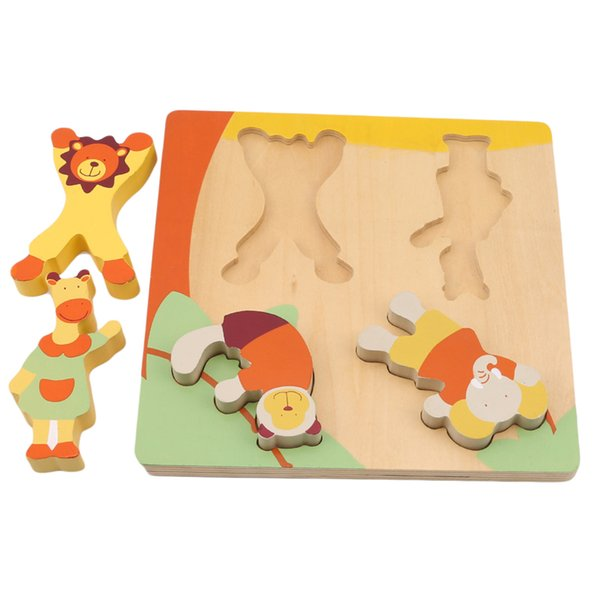 top popular Children' s Wooden Puzzles Toy Cartoon Animal Matching Game children's Early Educational Intelligence Toys kids Gifts 2019