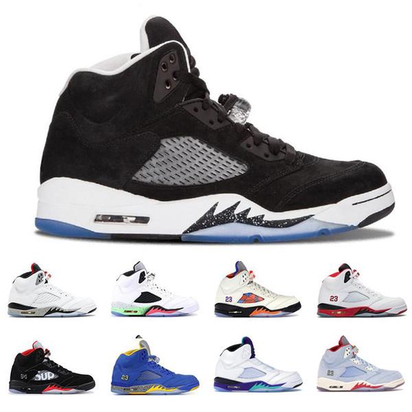 Jumpman Best 5 V 5s Голубые мужские баскетбольные кроссовки Белый металлик Огненно-красный Свежий принц Мичиган Мужская баскетбольная корзина с мячом Chaussures