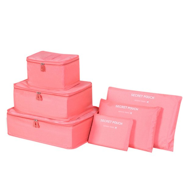 New 6 piece set luggage packing cubes big capacity nylon travel bag Organizer waterproof malas de viagem 10 colors available