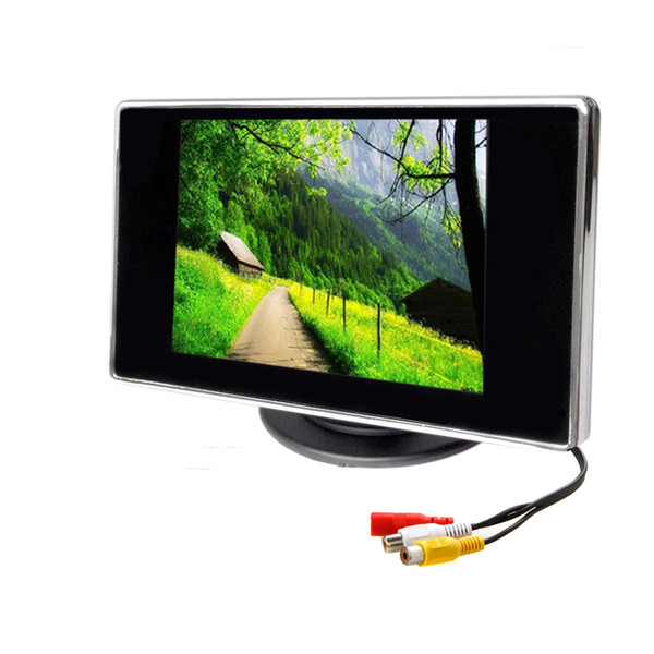 Freeshipping 3.5 Inch Car Monitor TFT LCD 320*240 Color 4:3 Screen 2 Way Video Input For Rear View Backup Reverse Camera DVD VCD DC 12V