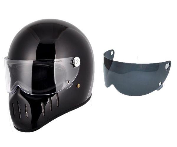 FPR full Face Motorcycle Vintage helmet with clear visor+ black visor pig mounth for dirt bike Cafe racer custom motocross cycling