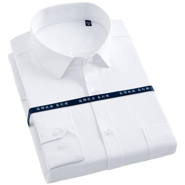 Camisa de vestir de manga larga para hombres con bolsillo en el pecho izquierdo, blanco Camisas de trabajo de corte regular con ajuste formal, tela cruzada / rayas